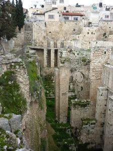 The excavations at the pools of Bethesda, an ancient site of healing.